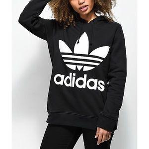 Adidas Trefoil Logo Pullover Hoodie Black White